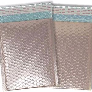 """25 Metallic Bubble Mailers Rose Gold 6"""" X 9"""" inch"""